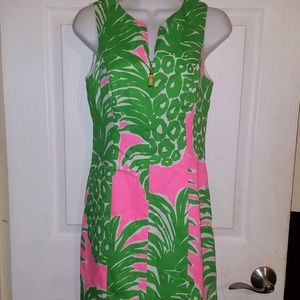 Lovely Green Pink Lilly Pulitzer Mila Shift Dress